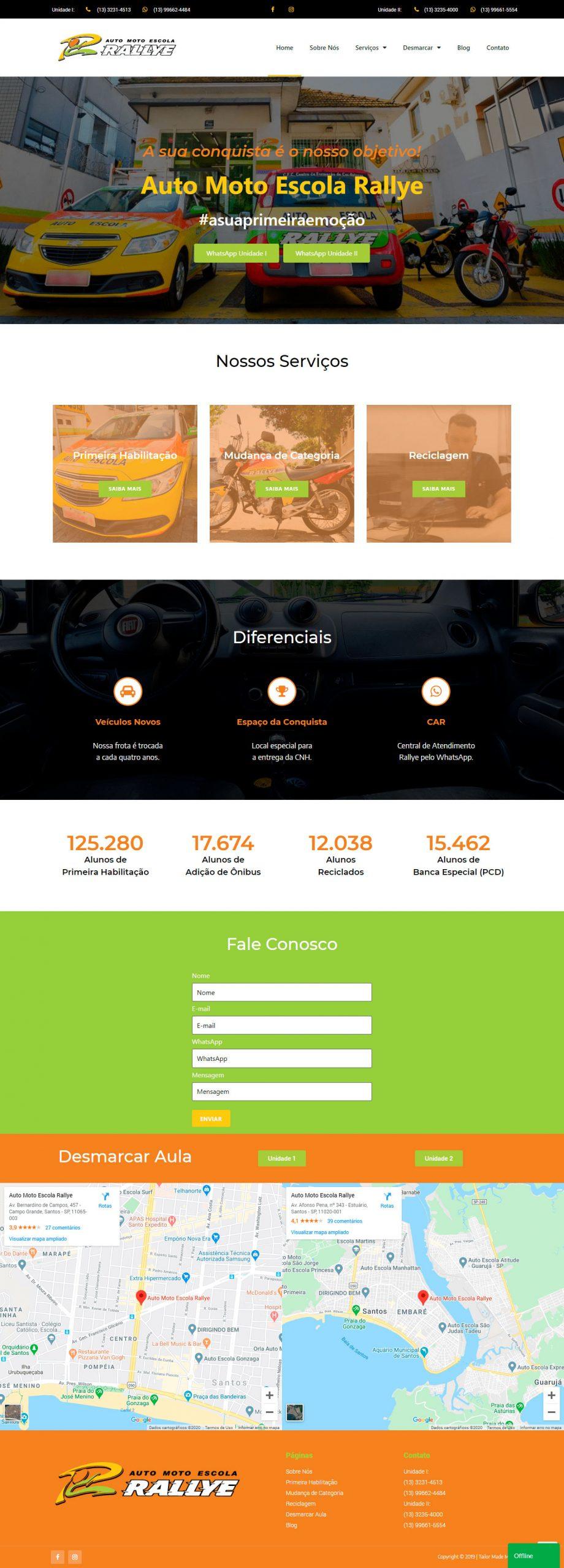 Criação de Site Auto Escola Rallye