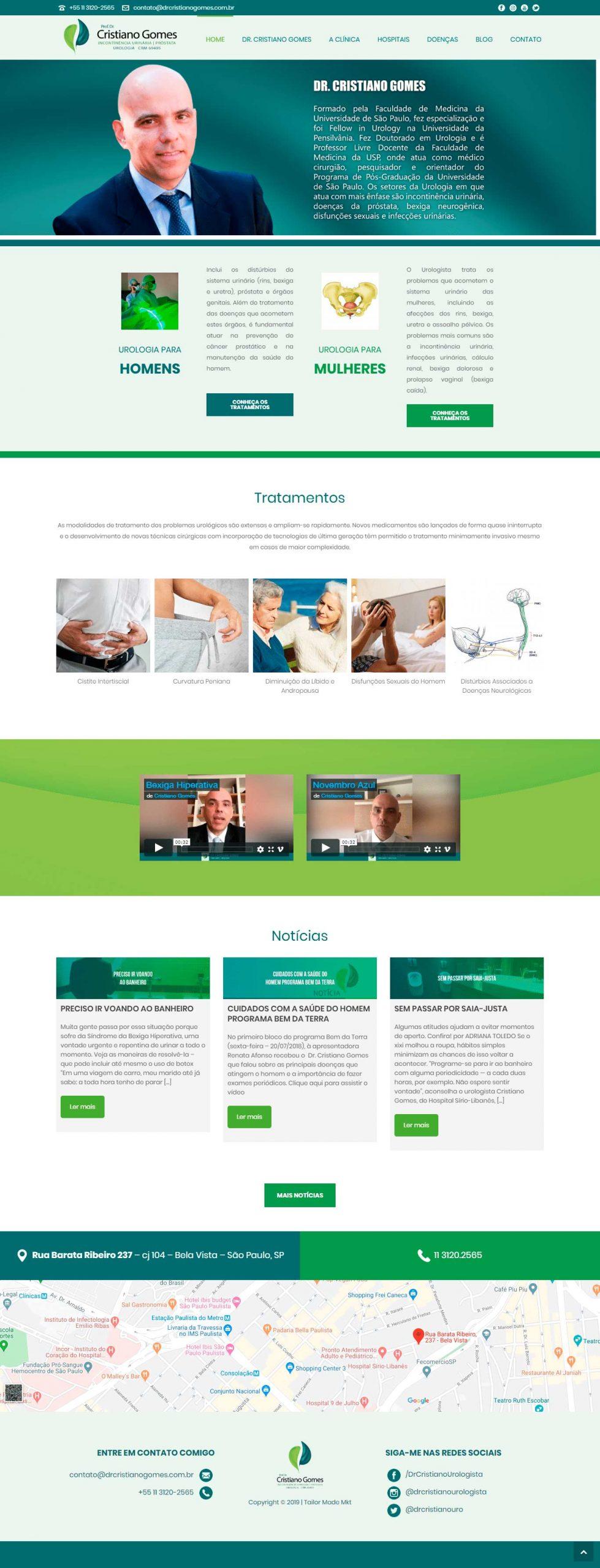 criação de site desenvolvimento de site DR Cristiano Gomes Urologista