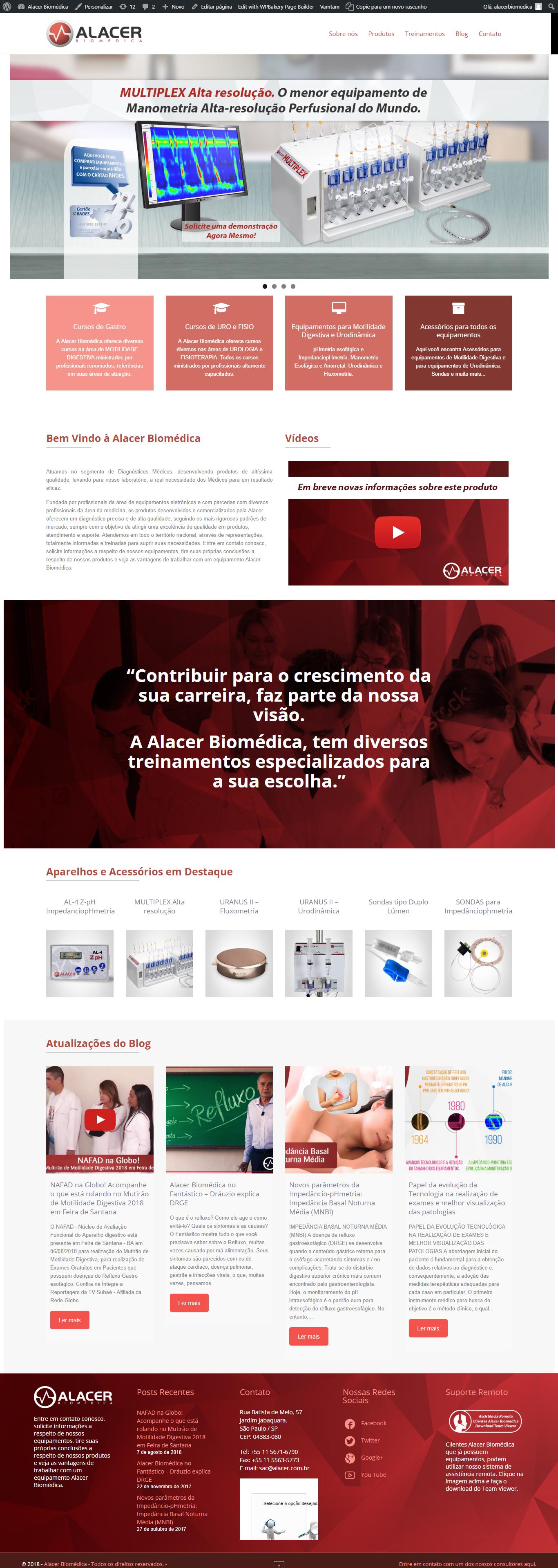 criação de site - desenvolvimento de site - alacer biomédica