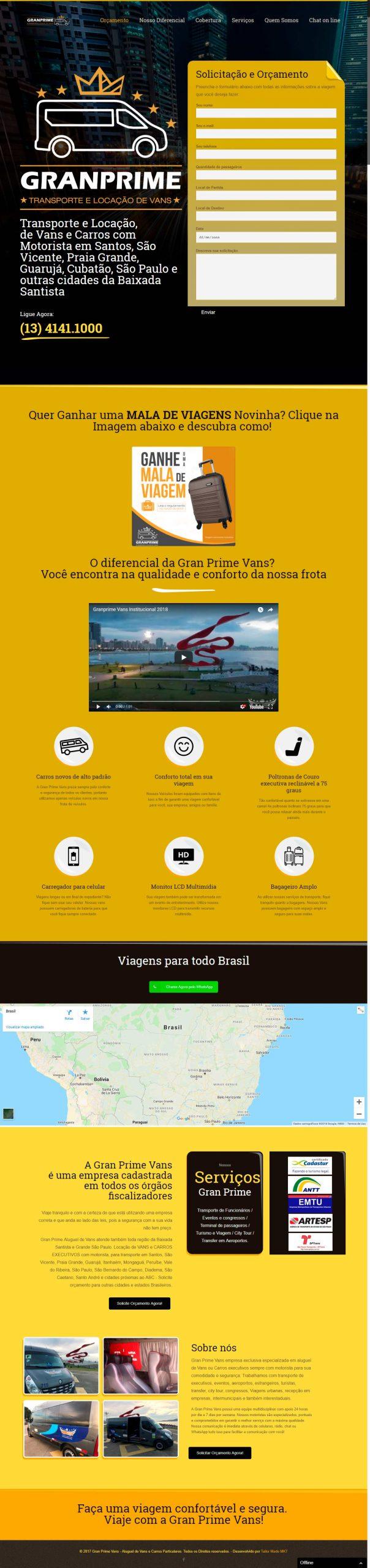 criação de site desenvolvimento de site Gran Prime Vans