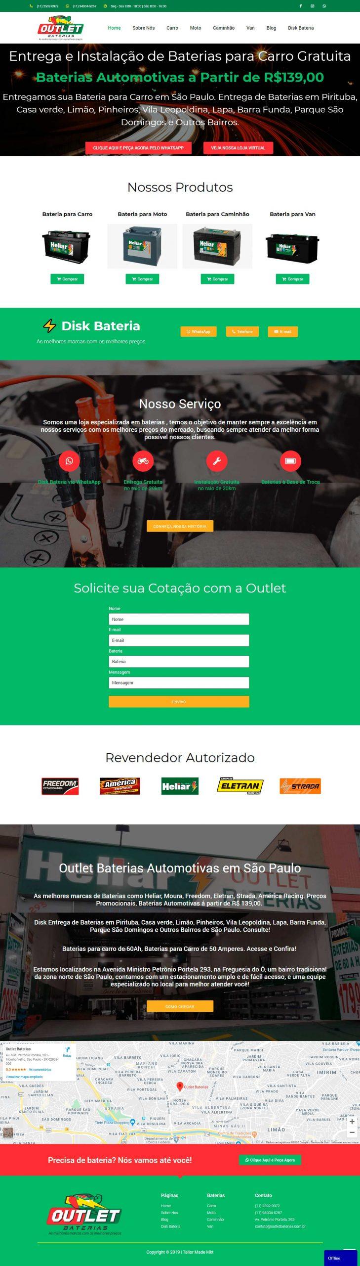 criação de site desenvolvimento de site outletbaterias